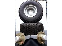 2 ATV tyres on four stud rim 18 X 9.50 - 8 complete with axles suitable for a variety of vehicles