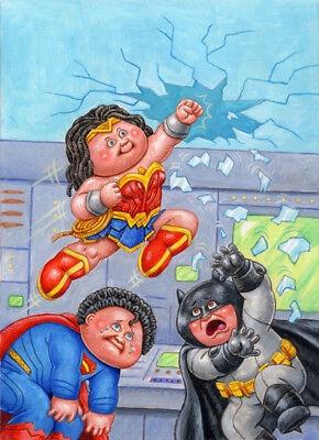 2017 GARBAGE PAIL KIDS / GPK Wonder Woman, Batman & Superman Final Art - LAYRON