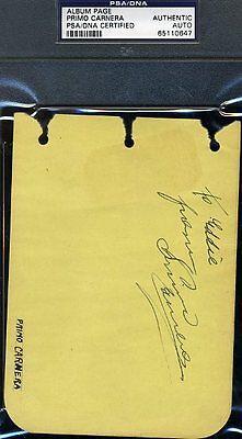 PRIMO CARNERA PSA/DNA SIGNED ALBUM PAGE AUTHENTIC AUTOGRAPH