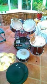 Second Hand CB Drum Kit (Maroon) and Practice Pads- Good Condition