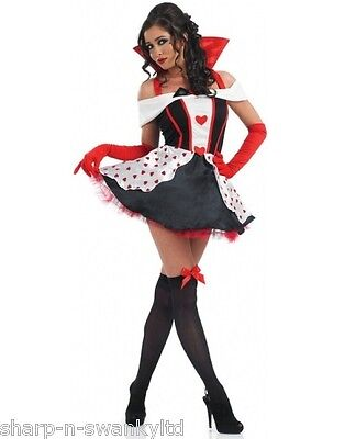 Ladies Queen of Hearts Alice in Wonderland Fancy Dress Costume Outfit Plus Size - Queen Of Hearts Plus Size Costumes