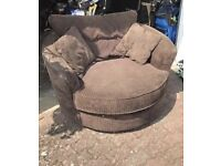 Brown jumbo corded cuddle chair