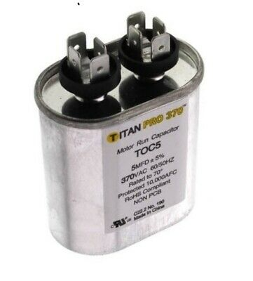 Run Cap 5 Mfd 370vac Electric Motor Run Oil Filled Capacitor Uf Hvac Titan Oval