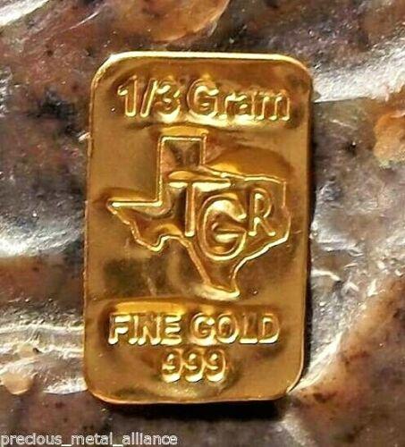 1 /3 gram Gold Bar - TGR  TEXAS - 999.9 Fine in Assay