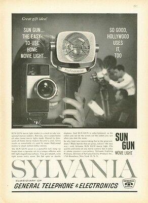 Sun Gun Light (1961 Sylvania Camera Sun Gun Movie Light PRINT AD)
