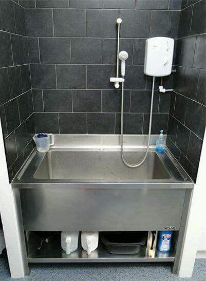 Genial Large Stainless Steel Dog Grooming Sink.
