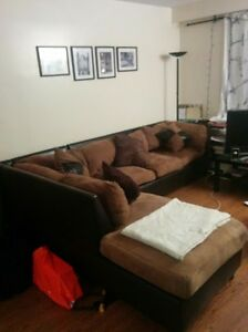 Large Suede Sectional Couch for Sale