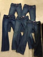 TWO pairs boot cut ADJUSTABLE WAIST jeans (girls sz 12).