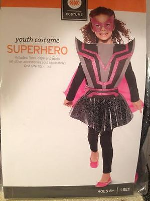 Girls SuperHero Villain Halloween Costume Accessory Glitter Vest Cape & Mask New