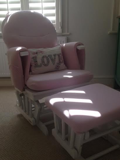 White Wooden Nursing Chair And Footstool In Dulwich London