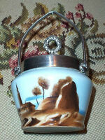 Scenic Victorian Era Hand Painted Milk Glass Preserve Jam Pot