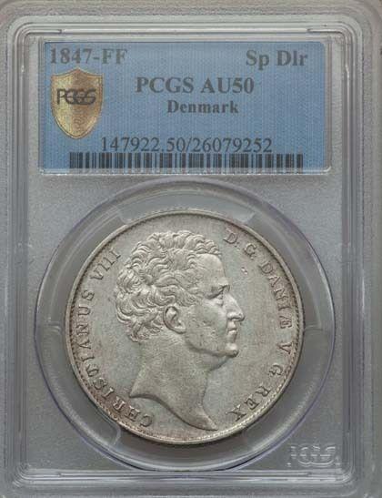 DENMARK CHRISTIAN VIII  1847-FF  SPECIEDALER SILVER COIN, CERTIFIED PCGS AU50