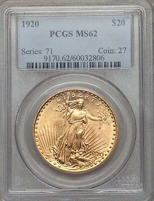 U.S.  1920  $20 DOUBLE EAGLE GOLD COIN CHOICE UNCIRCULATED & PCGS CERTIFIED MS62
