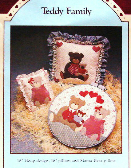 Primitive Teddy Bear Applique Pillow or Hoop Design CRAFT SEWING PATTERN