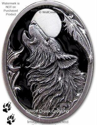 MIDNIGHT MOON WOLF PIN for MALE or FEMALE - WOLVES WILDLIFE ART JEWELRY GIFT #E*