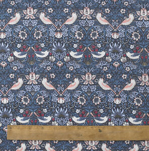 William Morris Strawberry Thief  Floral 100% Cotton Fabric 152cm  Wide 1Metre