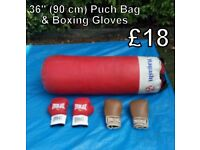 36'' Punch Bag & Boxing Gloves
