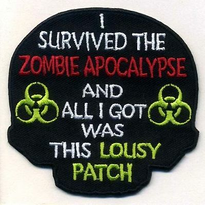 I SURVIVED THE ZOMBIE APOCALYPSE Patch, Punk, Horror, Morale, Halloween Prop