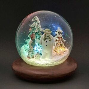 The Snowman & The Snowdog Snow Globe with LED's & Music Christmas Snowglobe