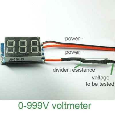 Easy Use Dc 0-999v Red Electric High Voltage Indicator Digital Voltmeter 2 Wire