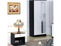 HIGH GLOSS BLACK / WHITE BEDSIDE TABLE & DOUBLE WARDROBE - NEARLY NEW