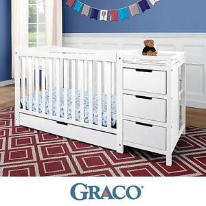 NEW GRACO REMI 4 IN 1 CHANGER CRIB - 119903753 - WHITE FINISH DRAWERS TRUNDLE ROLL OUT DRAWER CRIBS BABIES CHANGERS