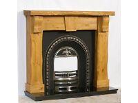 Hand-made keystone fireplace