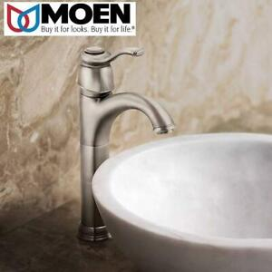 NEW MOEN FAUCET WITH DRAIN SET 6102BN 243098274 SINGLE HANDLE IN BRUSHED NICKEL