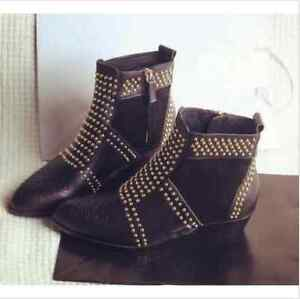 HOT-Womens-Punk-Real-Leather-Rivet-Studded-Side-Zipper-Pull-On-Ankle-Boots-Shoes
