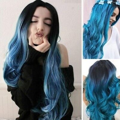 Fashion New Long Wavy Wigs Blue Wig Party Wigs Synthetic Wigs for Women HA