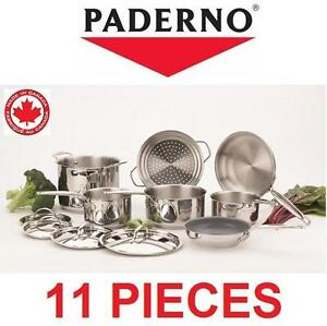 NEW PADERNO 11PC COOKWARE SET - 112327573 - CANADIAN COOKWARE SET - KITCHEN COOKING DINING