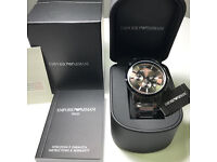 NEW ARMANI WATCH BLACK COLOR AR2453 WITH DOCUMENTS IN ORIGINAL BOX CERTIFICATE WITH STAMP