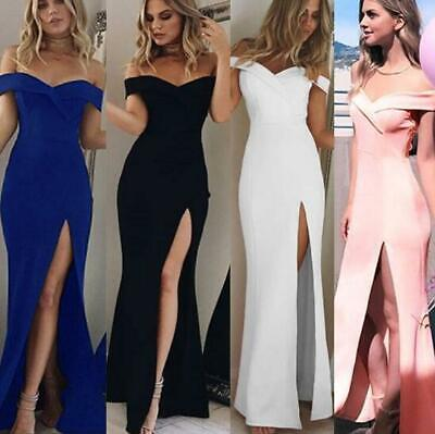 Ball Gowns Cocktail Dresses - Women's Bandeau Split Long Evening Cocktail Dress Party Ball Gown Formal Wedding