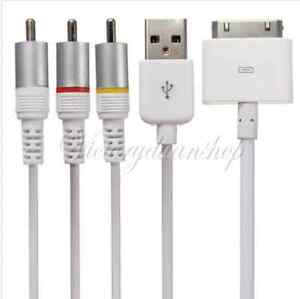 Composite Video AV Cable to TV RCA USB Charger for iphone 4/4S