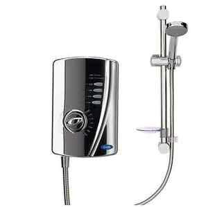 Electric Shower 10.5KW Chrome Powerful Hot Water Bathroom Wall Creda Eco Setting