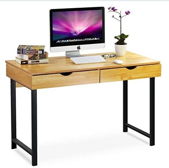Tribesigns Modern Stylish Computer Desk Home Office Study Table Workstation 2 Drawers Pear Wood