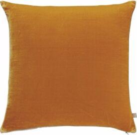 Two Habitat REGENCY Velvet Cushions, Yellow