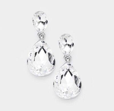 "1.25"" Clear Crystal Pageant White Silver Wedding Long Rhinestone Bridal -"