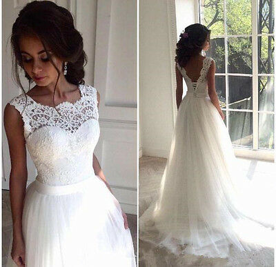 Lace New White/Ivory Bridal Gown Wedding Dress Custom Size 4-6-8-10-12-14-16-18+
