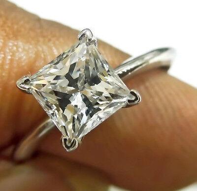 Princess Cut 2.49 ct Solitaire Diamond Engagement Ring Solid 14k White (White Gold Princess Diamond Solitaire)