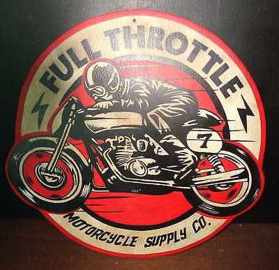 FULL THROTTLE WOODEN HAND PAINTED VINTAGE STYLE MOTORCYCLE ADVERTISING SIGN