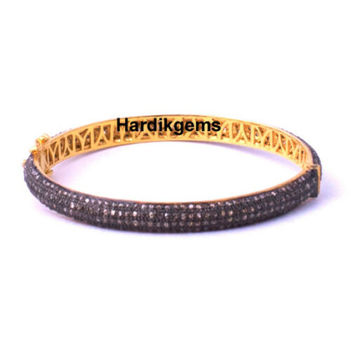 Natural Rose Cut Diamond Solid 925 Sterling Silver Victorian Wedding Bangle