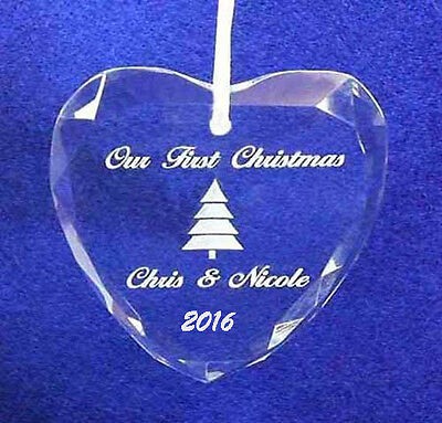 Engraved Personalized 1st Christmas Together Tree Crystal ornament 2016