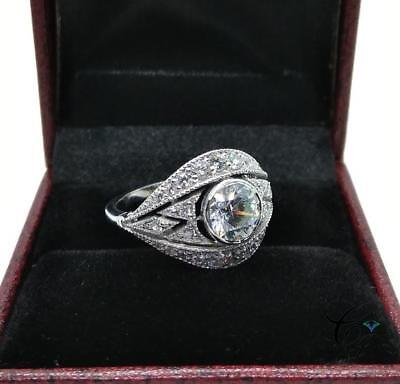 Antique Art Deco 1.20 Ct Round Cut Engagement Bezel Ring 925 Sterling Silver