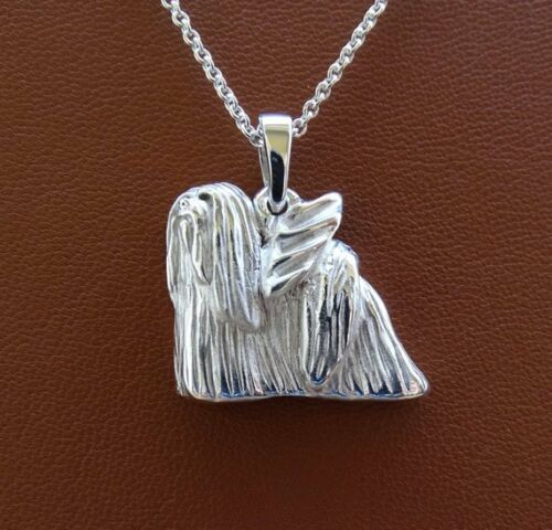 Large Sterling Silver Lhasa Apso Angel Pendant