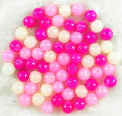 200Pcs 4mm Pink Mixed Czech Solid Glass Pearl Round Beads