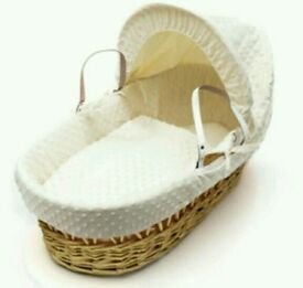 Kinder valley Cream Dimple with natural Wicker moses basket. Brand new 4 left in stock.