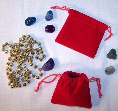 50 Sm Red Velvet Jewelry Storage Bags Jewelry Stone Bag