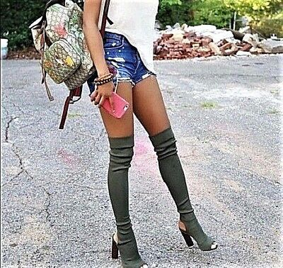 Women's Over The Knee Thigh High Boots Open Toe Lycra Pull On Chunky Block Heel Chunky Heel Thigh High Boots