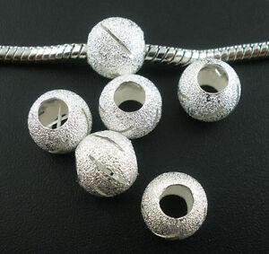 10 Stardust Beads 10mm With Large Hole Silver Plated European Style J03148C